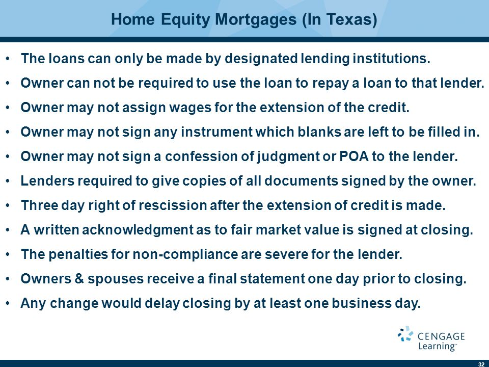 Home Equity Mortgages (In Texas)