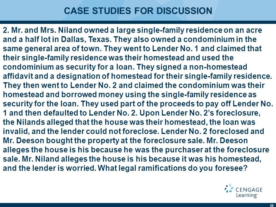 CASE STUDIES FOR DISCUSSION