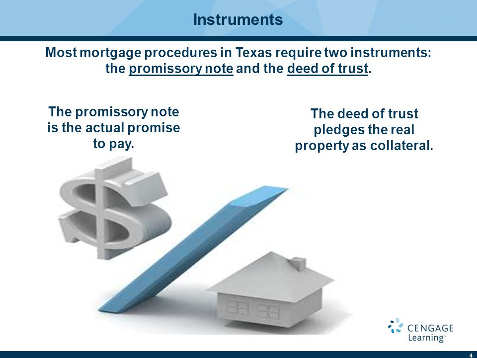 Instruments Most mortgage procedures in Texas require two instruments: