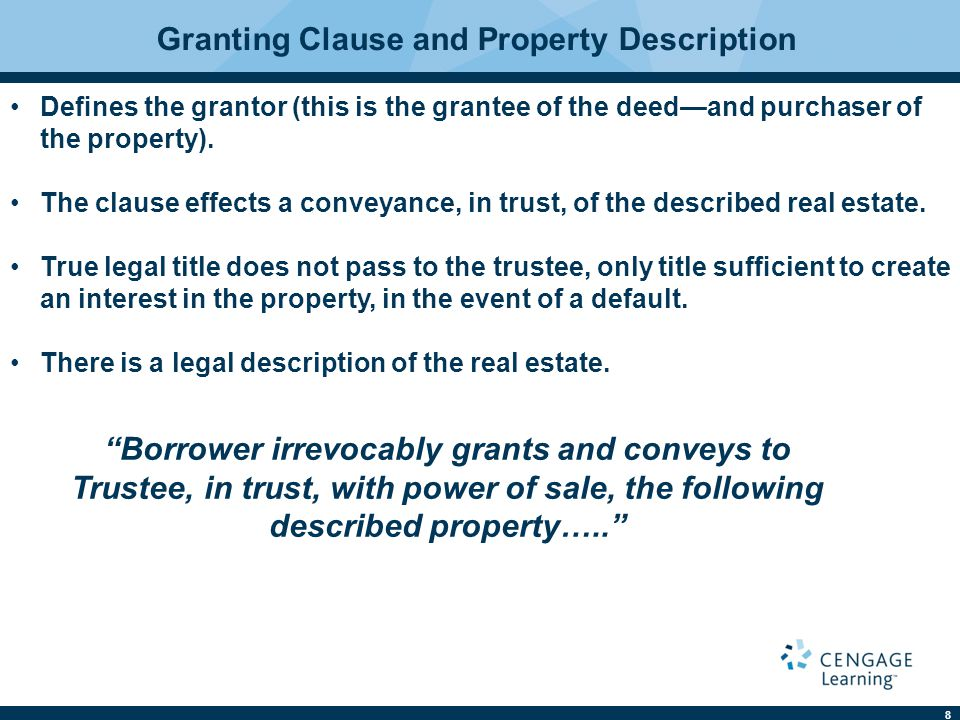 Granting Clause and Property Description