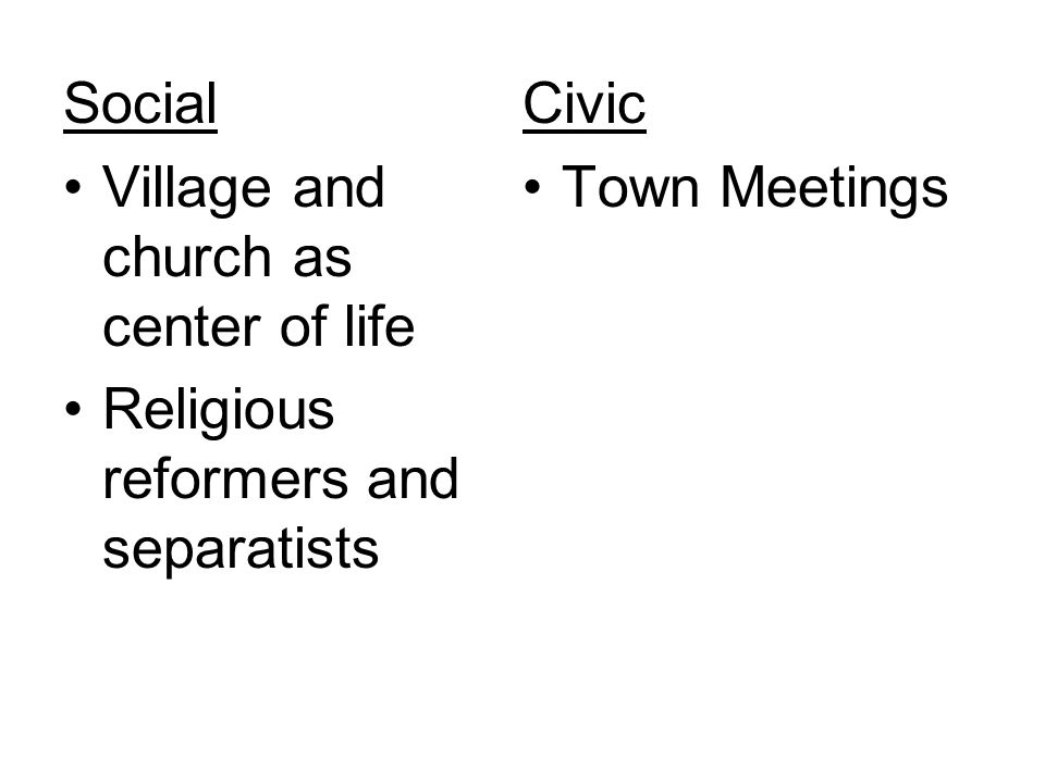 Social Civic Village and church as center of life Town Meetings Religious reformers and separatists