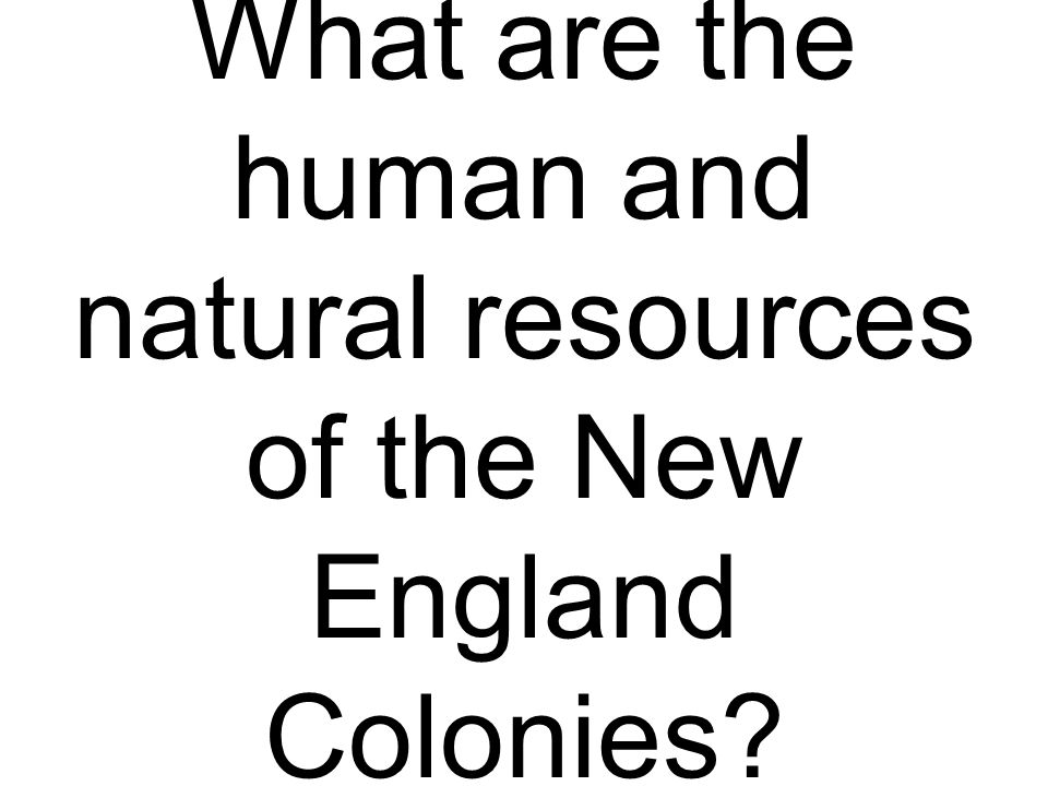 What are the human and natural resources of the New England Colonies