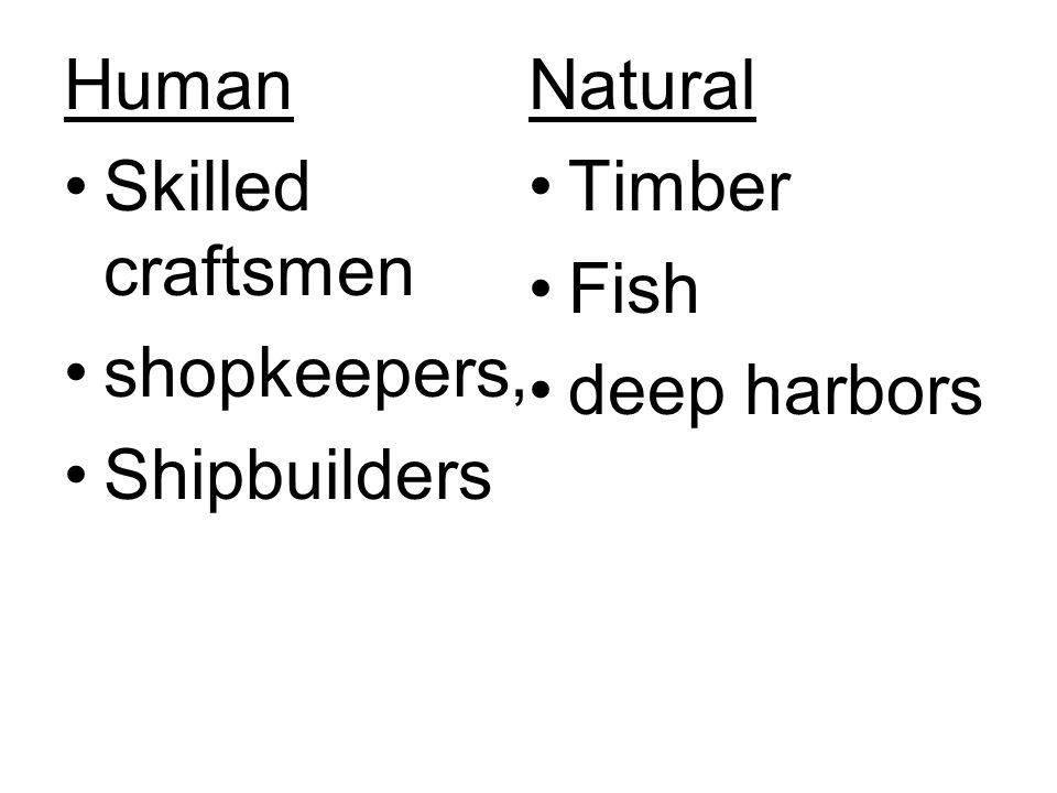 Human Natural Skilled craftsmen Timber Fish shopkeepers, deep harbors Shipbuilders