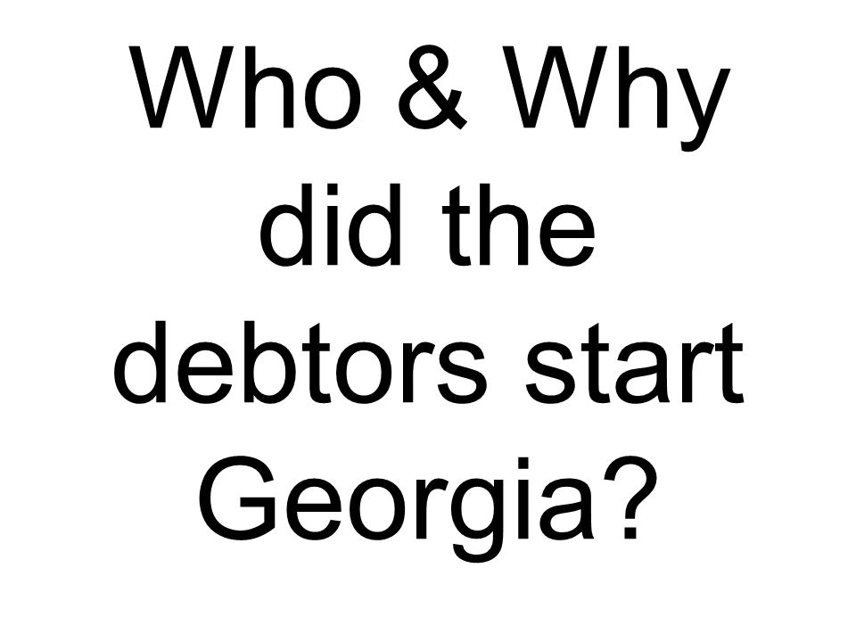 Who & Why did the debtors start Georgia