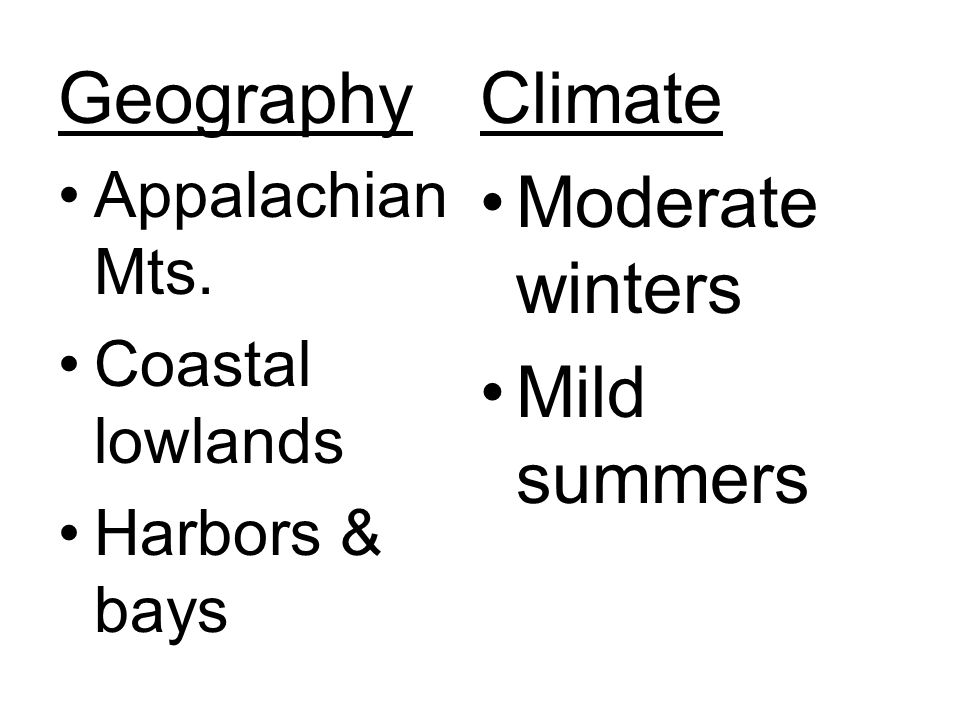 Geography Climate Moderate winters Mild summers Appalachian Mts.