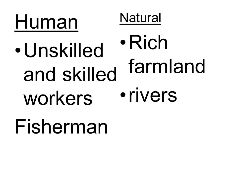 Unskilled and skilled workers rivers Fisherman