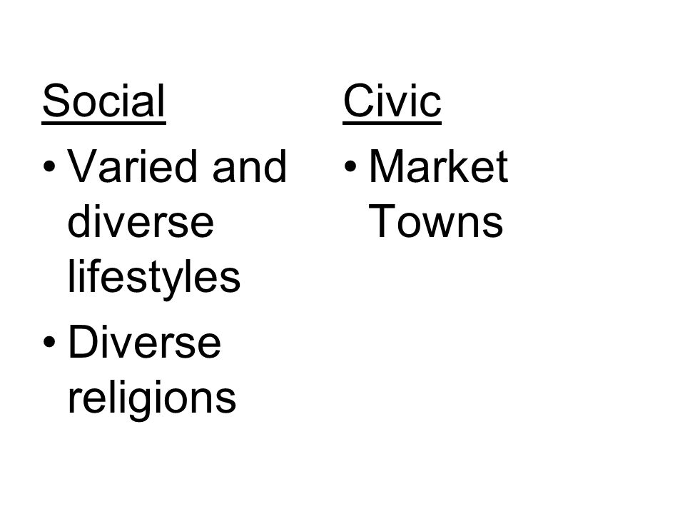 Social Civic Varied and diverse lifestyles Market Towns Diverse religions