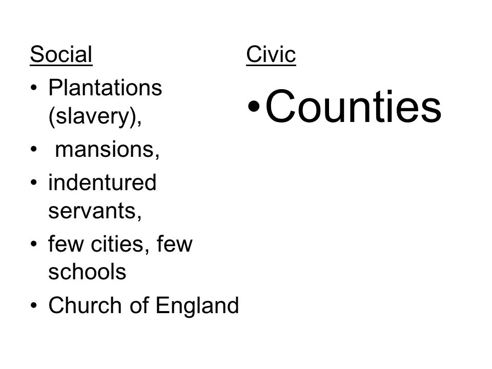 Counties Social Civic Plantations (slavery), mansions,