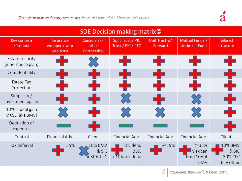 SDE Decision making matrix©