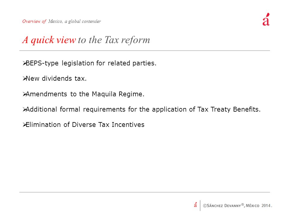 A quick view to the Tax reform