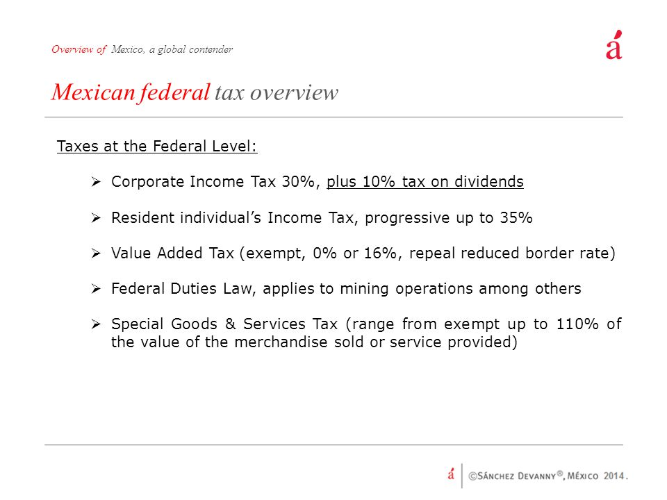 Mexican federal tax overview