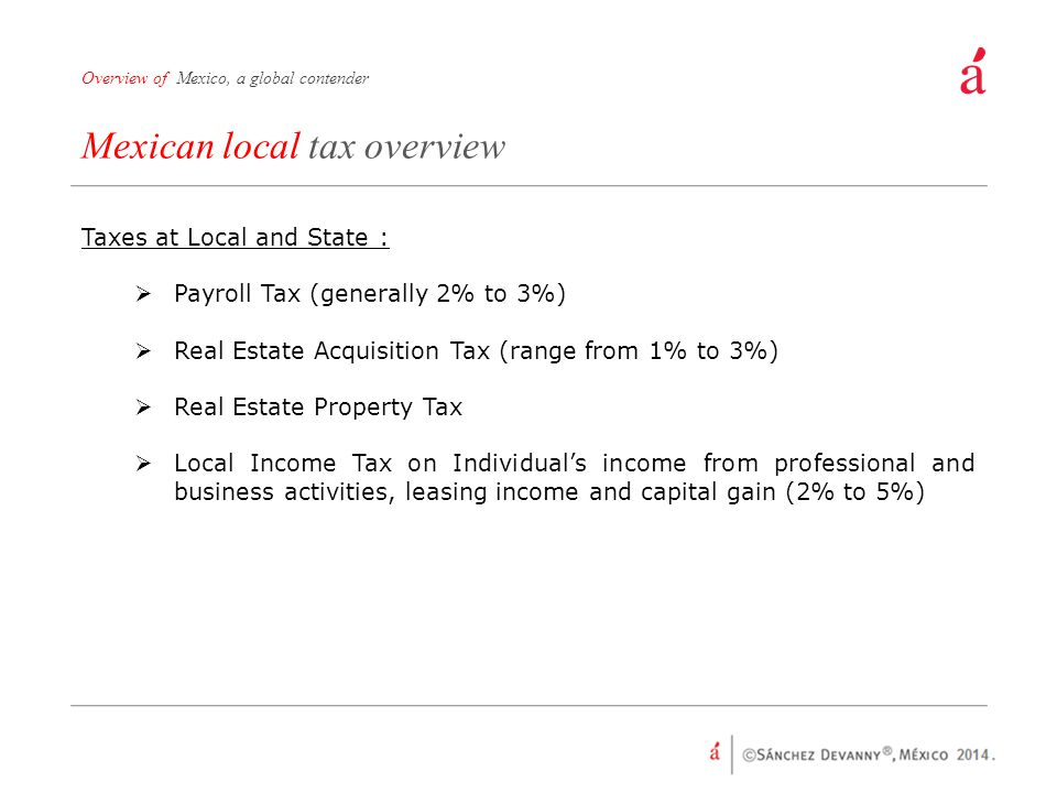 Mexican local tax overview