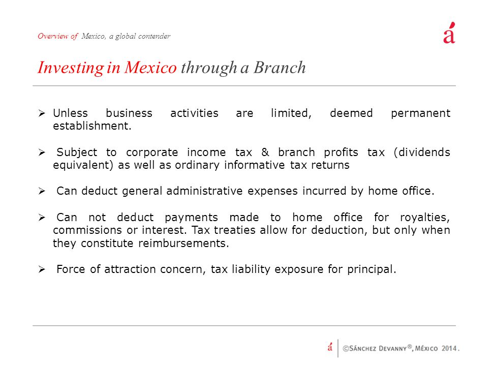Investing in Mexico through a Branch