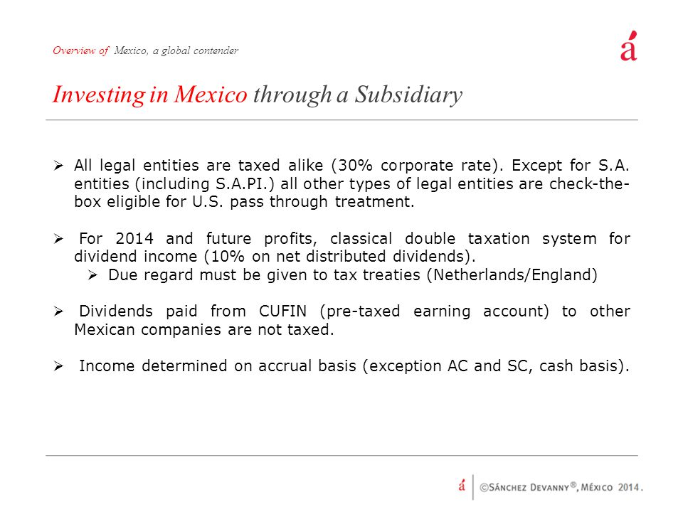 Investing in Mexico through a Subsidiary