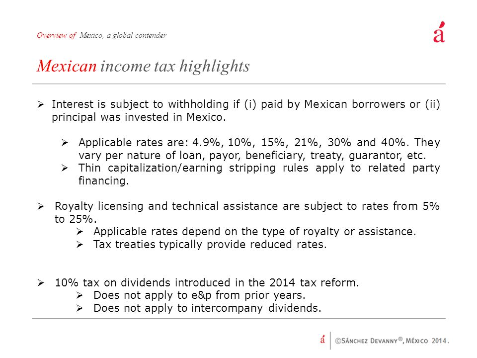 Mexican income tax highlights