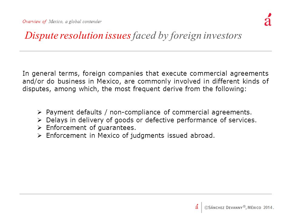 Dispute resolution issues faced by foreign investors