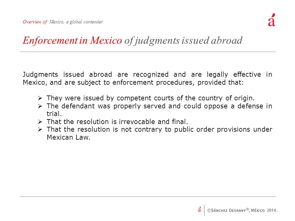 Enforcement in Mexico of judgments issued abroad