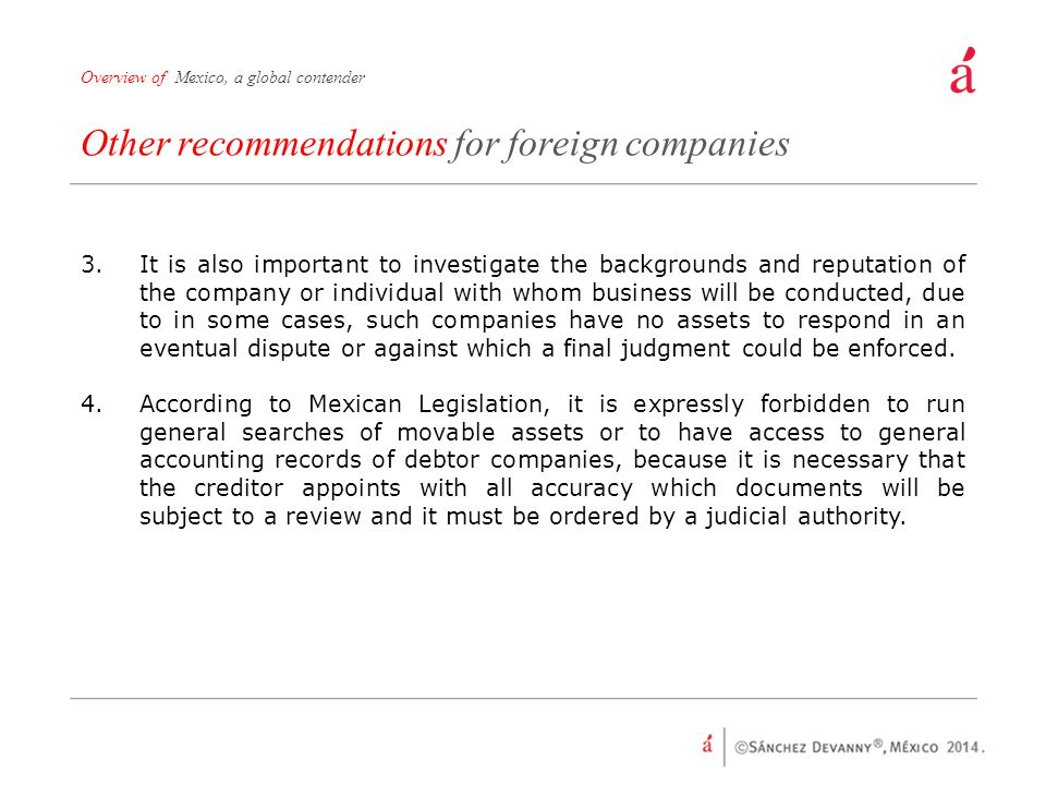 Other recommendations for foreign companies