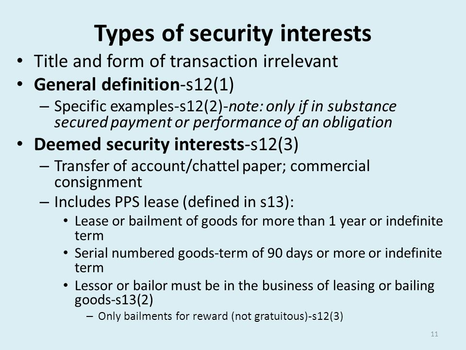 Types of security interests