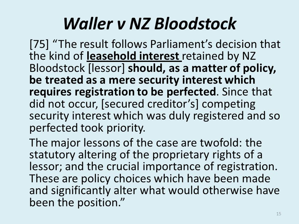 Waller v NZ Bloodstock