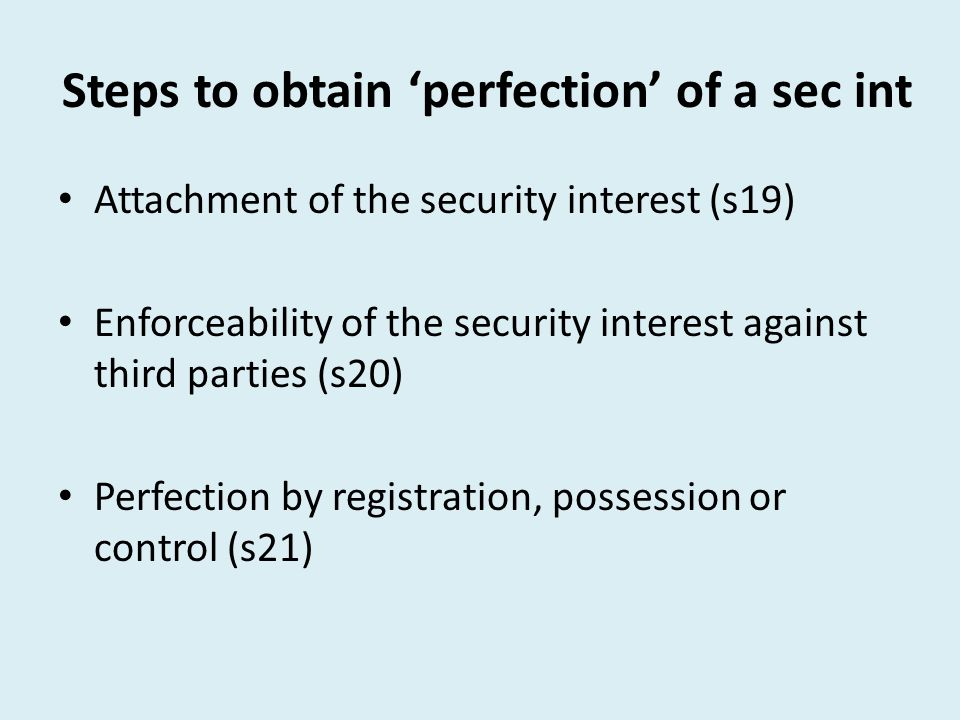 Steps to obtain 'perfection' of a sec int