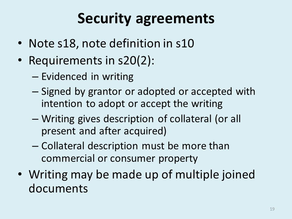 Security agreements Note s18, note definition in s10