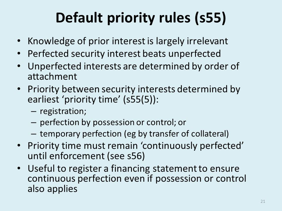 Default priority rules (s55)
