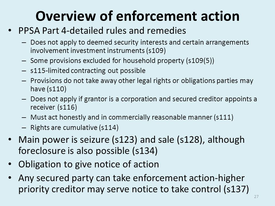 Overview of enforcement action