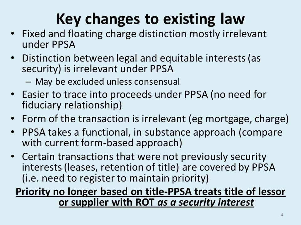 Key changes to existing law