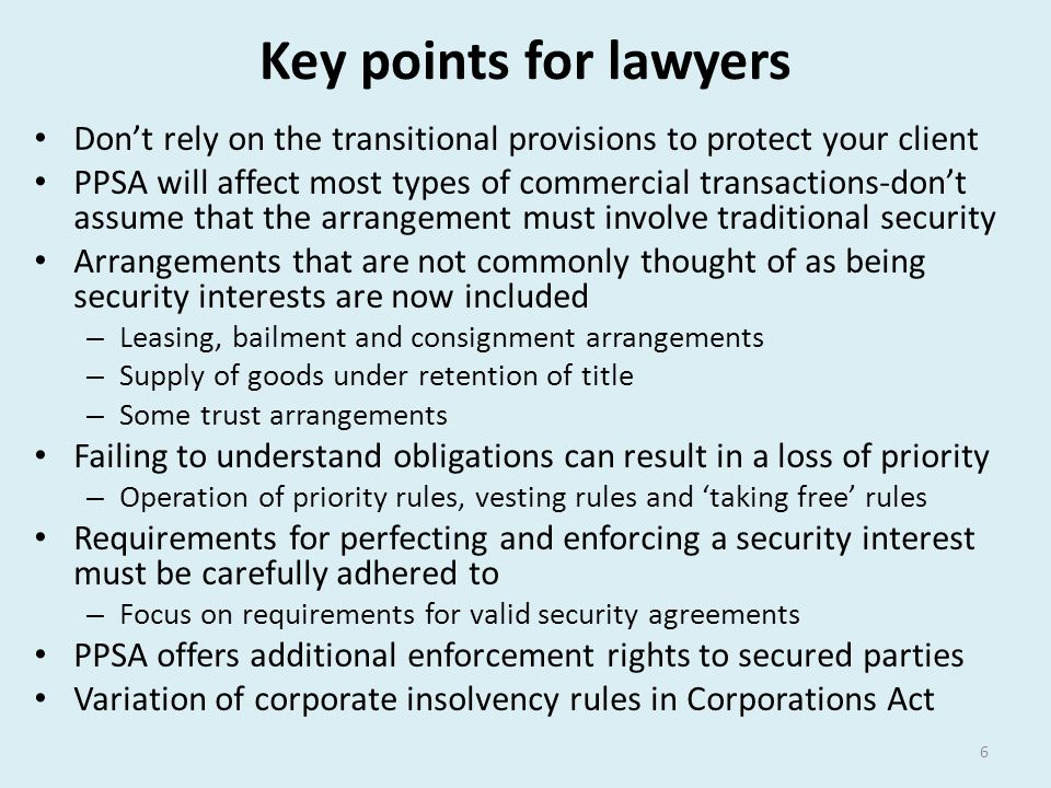 Key points for lawyers Don't rely on the transitional provisions to protect your client.