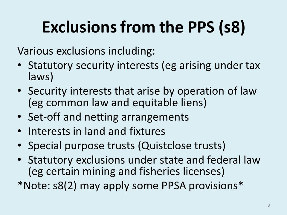 Exclusions from the PPS (s8)