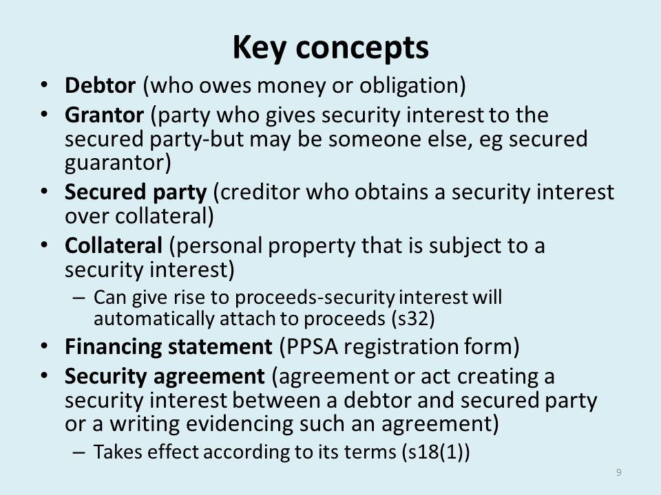 Key concepts Debtor (who owes money or obligation)