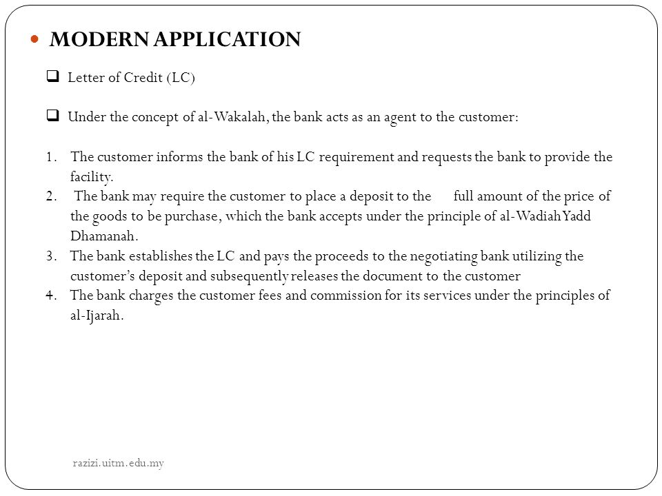 MODERN APPLICATION Letter of Credit (LC)