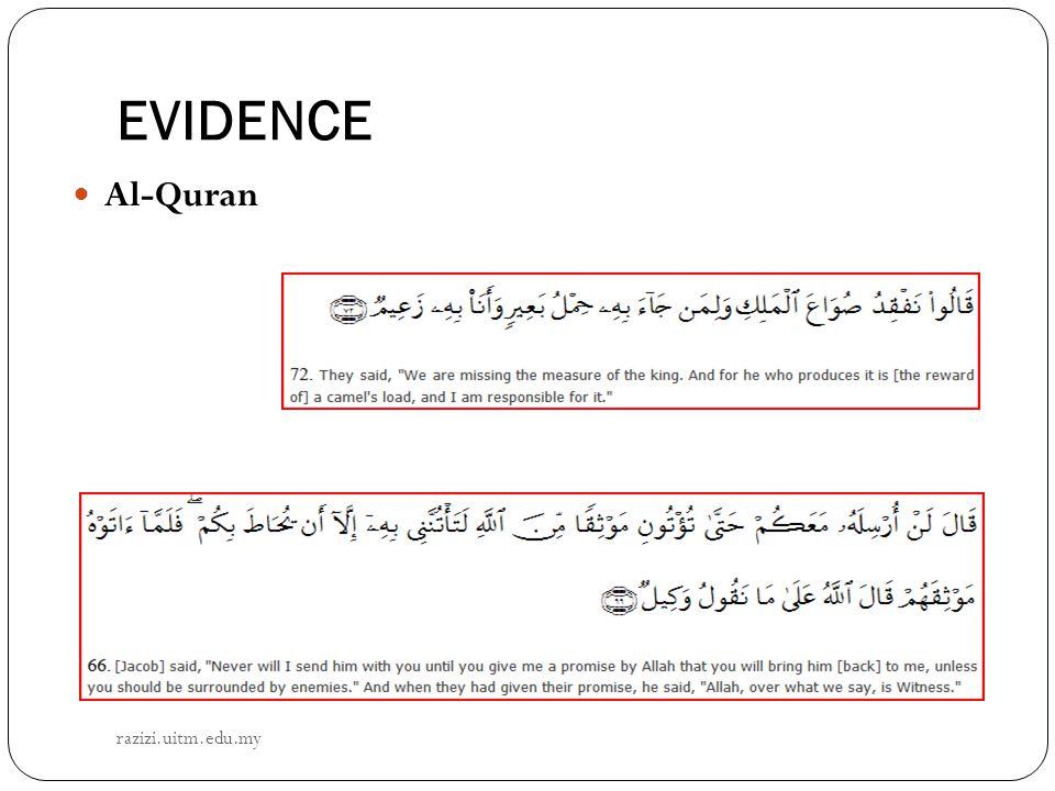 EVIDENCE Al-Quran razizi.uitm.edu.my