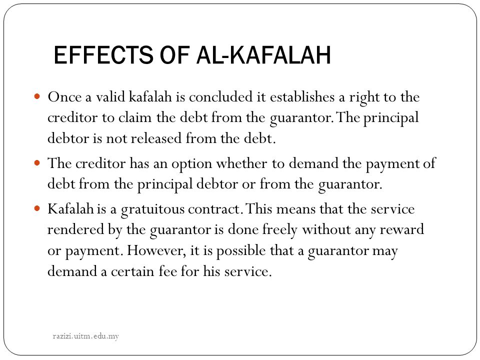 EFFECTS OF AL-KAFALAH