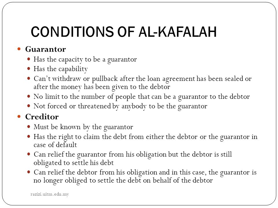 CONDITIONS OF AL-KAFALAH