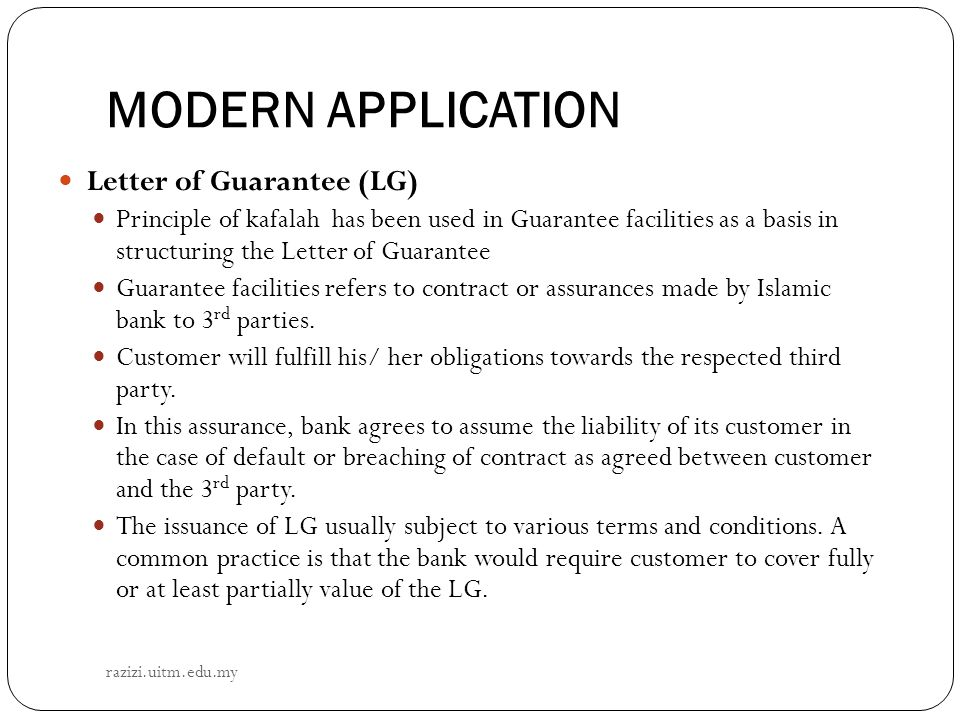 MODERN APPLICATION Letter of Guarantee (LG)