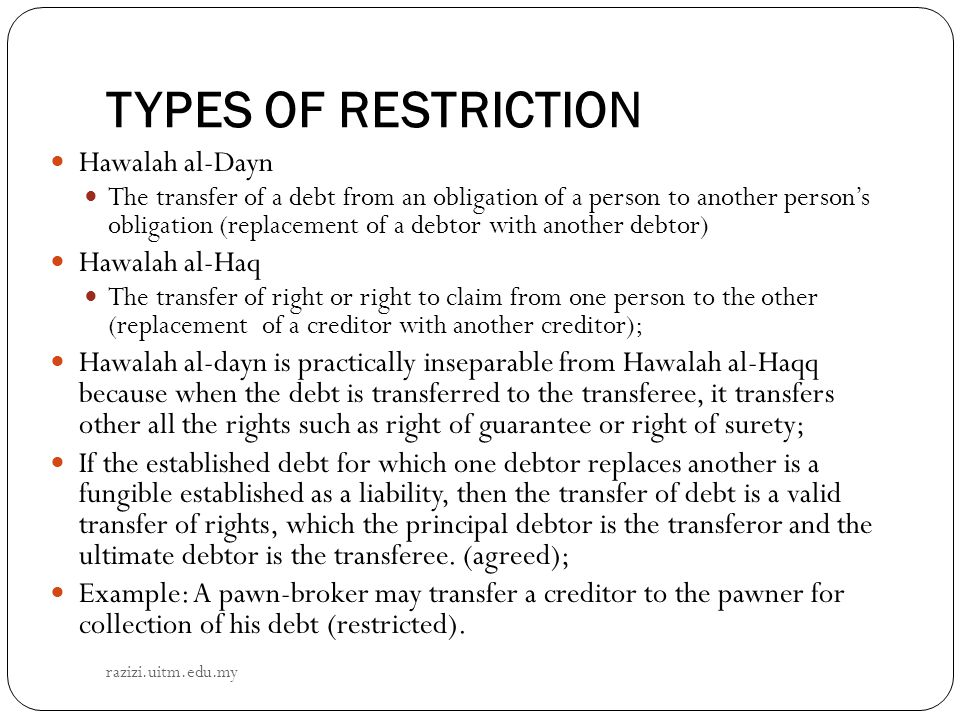 TYPES OF RESTRICTION Hawalah al-Dayn Hawalah al-Haq