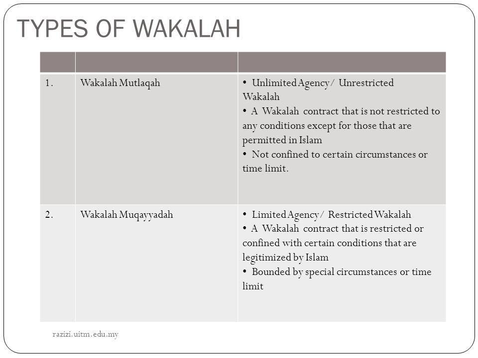 TYPES OF WAKALAH 1. Wakalah Mutlaqah