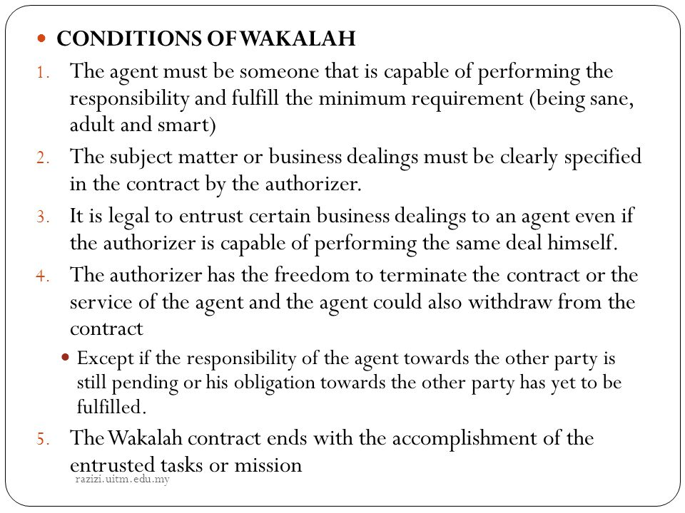 CONDITIONS OF WAKALAH