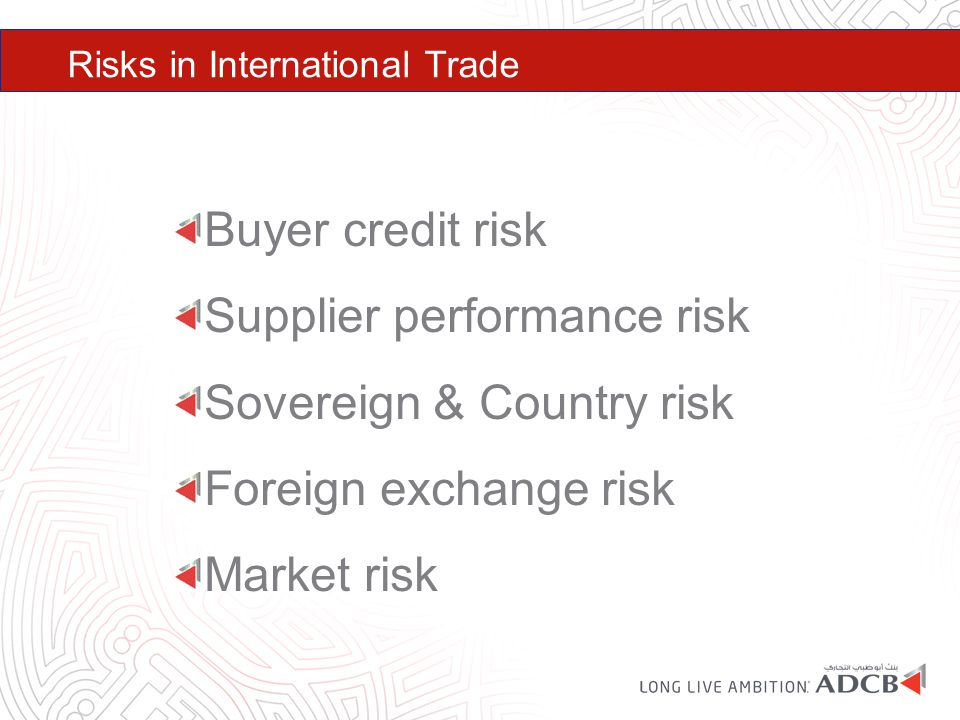 Supplier performance risk Sovereign & Country risk