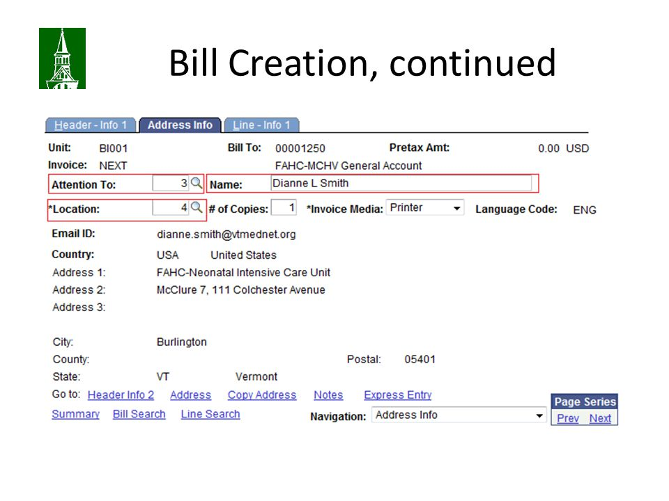Bill Creation, continued