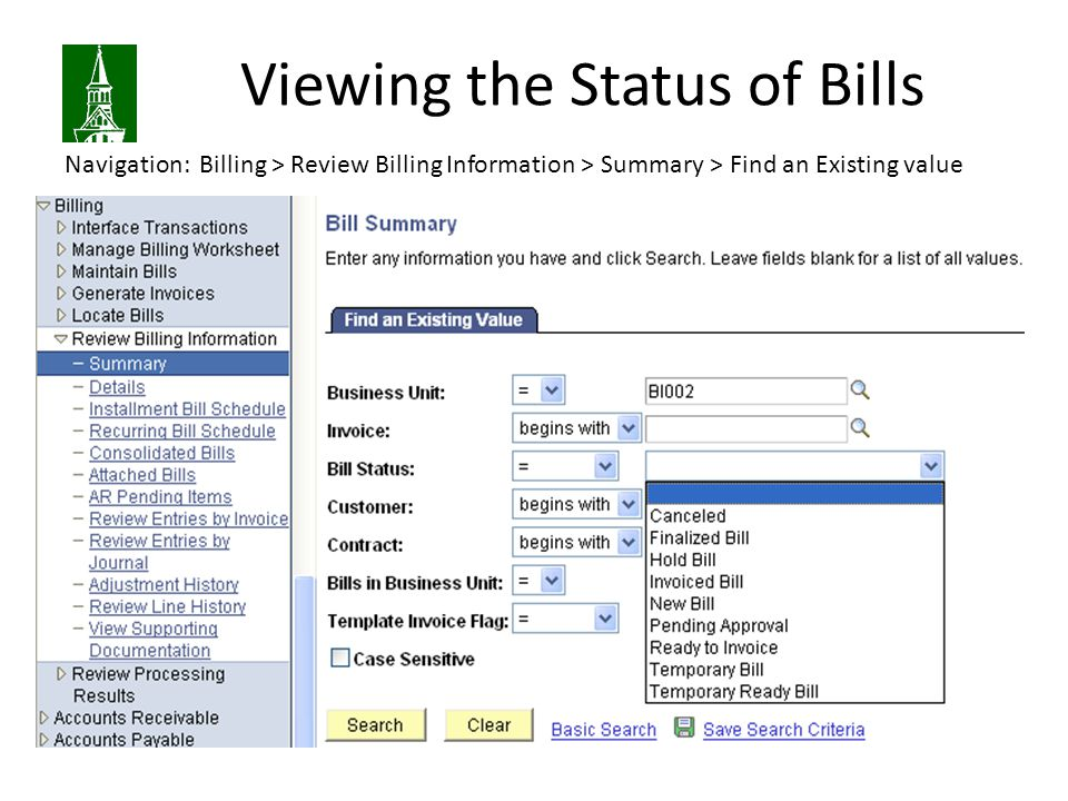 Viewing the Status of Bills
