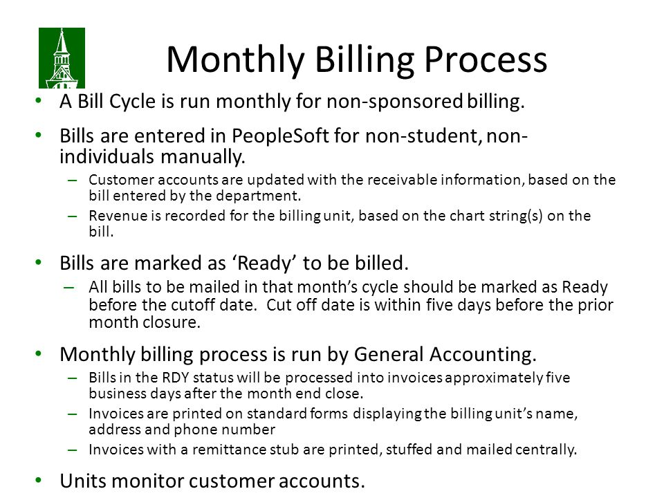 Monthly Billing Process