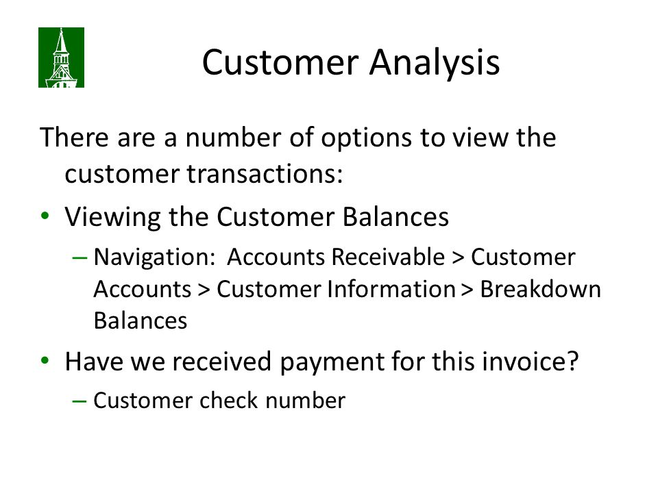 Customer Analysis There are a number of options to view the customer transactions: Viewing the Customer Balances.