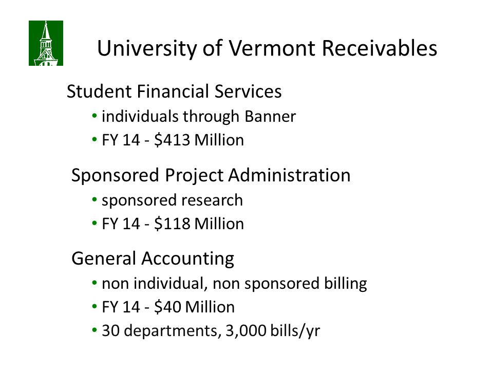 University of Vermont Receivables