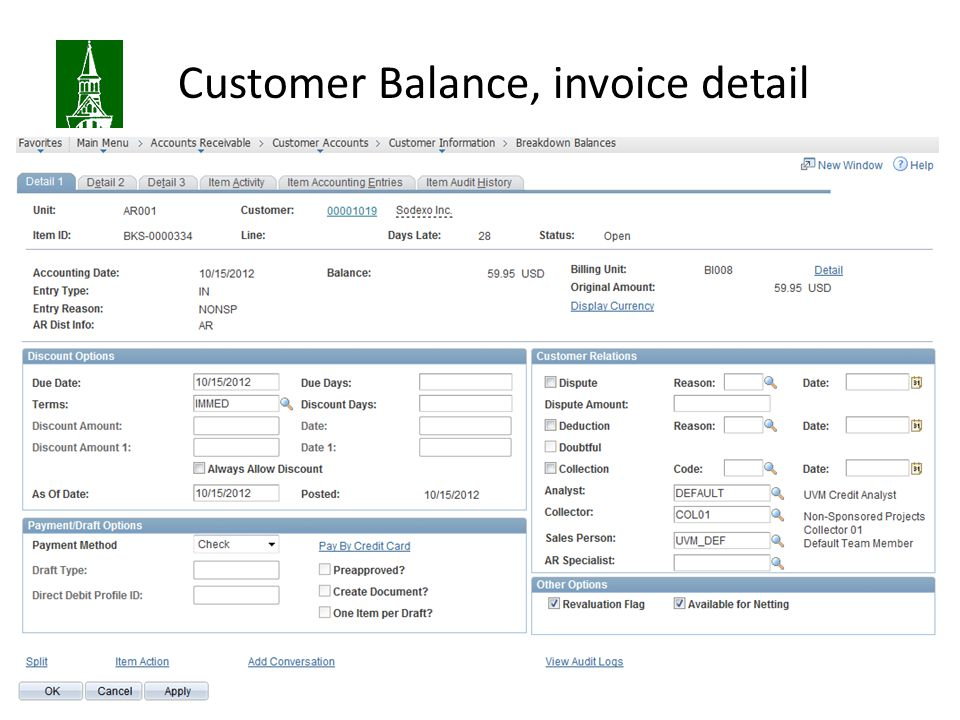 Customer Balance, invoice detail