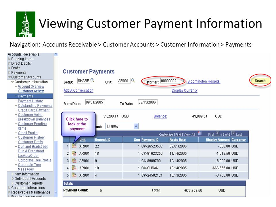 Viewing Customer Payment Information