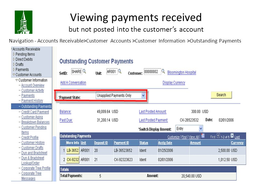 Viewing payments received but not posted into the customer's account