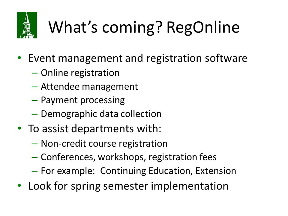 What's coming RegOnline